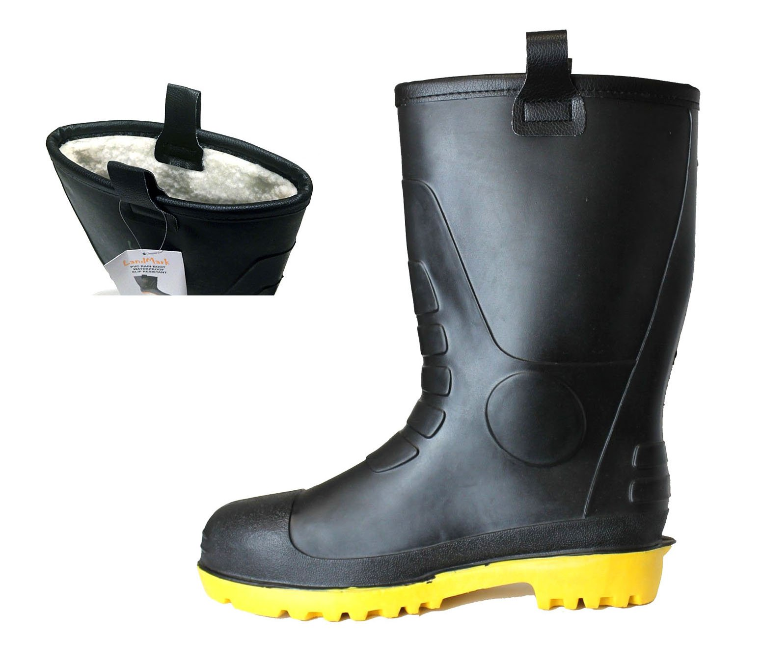 LM Mens Waterproof Fur Interior Rubber Sole Winter Snow Rain Boots Insulated (9)