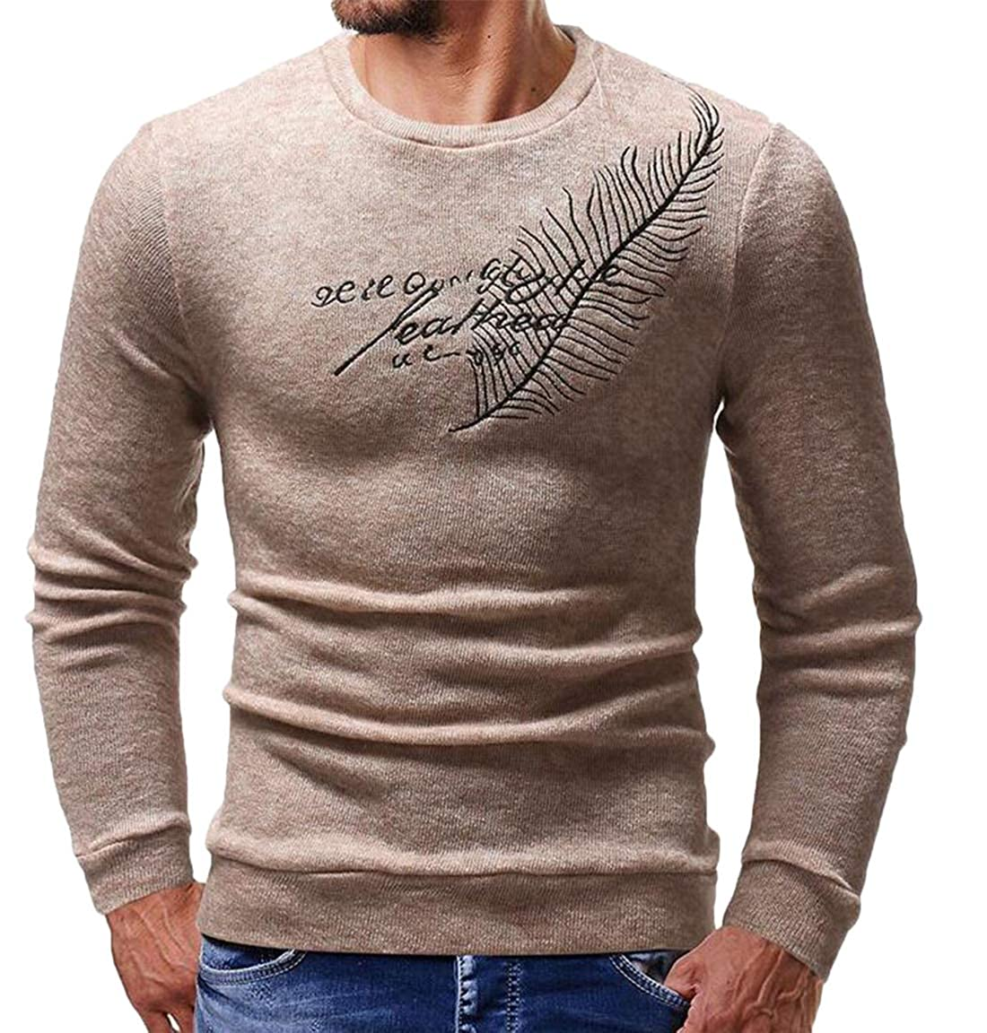 Wan-T Mens Basic Casual Feather Embroidery Crew Neck Pullover Slim Knit Sweater
