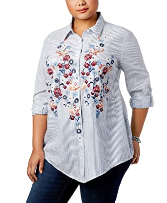 958d1fbf Style&Co Plus Size Embroidered Striped Shirt at Amazon Women's Clothing  store: