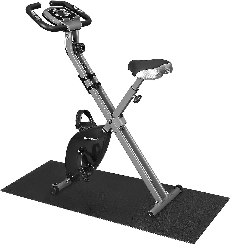 SONGMICS Bicicleta Estática, Bicicleta Fitness, Entrenador Plegable Indoor, 8 Niveles de Resistencia Magnética, con Alfombrilla, Sensor de Pulso, ...