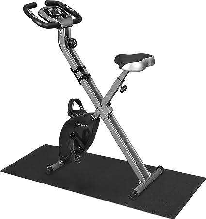 SONGMICS Bicicleta Estática, Bicicleta Fitness, Entrenador Plegable Indoor, 8 Niveles de Resistencia Magnética, con Alfombrilla, Sensor de Pulso, Soporte Telefónico, 100 kg Máx. Negro SXB11BK: Amazon.es: Deportes y aire libre