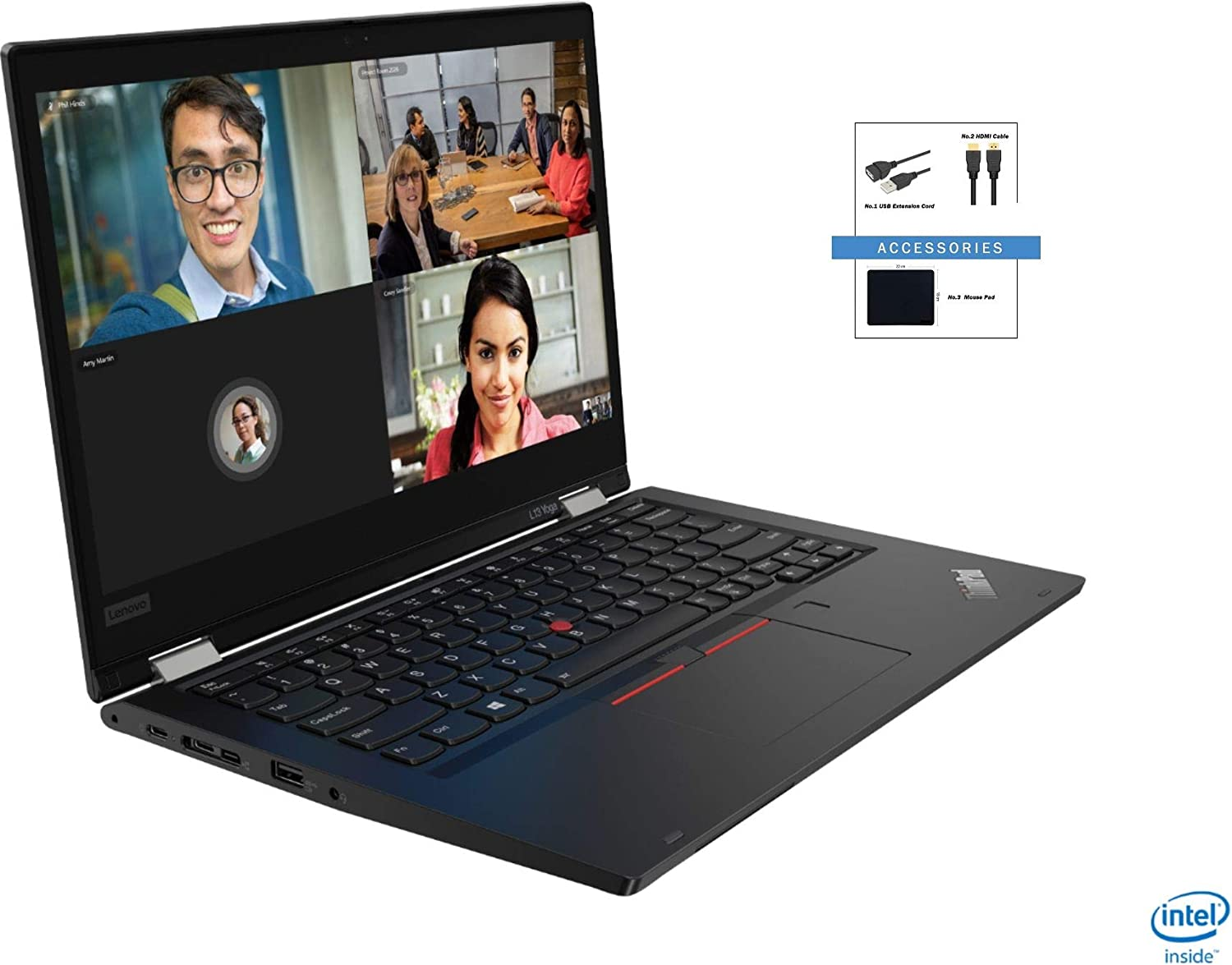 "Lenovo ThinkPad L13 Yoga 13.3"" FHD 2-in-1 Touch-Screen Laptop Bundle Woov Accessory 