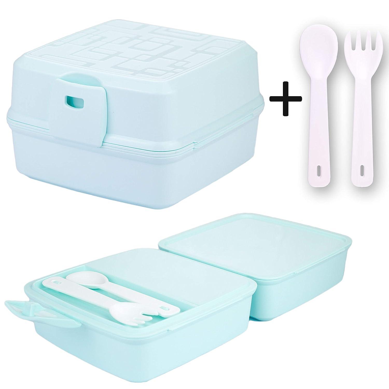Kaliwaro Brotdose für Kinder | Lunchbox Brotbox Snackbox mit Vier Fächern und Besteck, in Verschiedenen Farben für Mädchen und Jungen - BPA frei (Türkis)