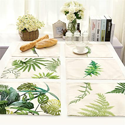 EoCot 42x32cm Green Leaf Painting Table Mat Coffee Tea Coaster Rectangle  Cotton Linen Placemat Green 5