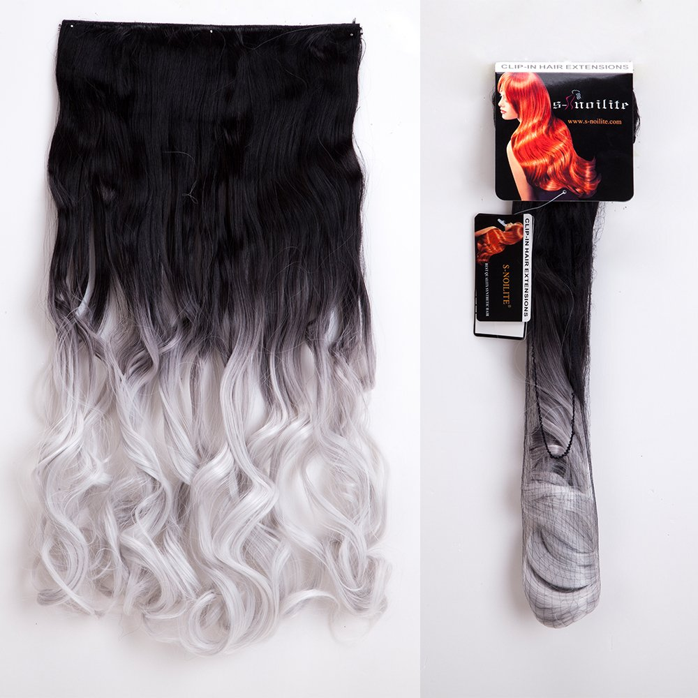 "S-noilite Ombre 23/25 inches Clip in Hair Extensions One Piece Curly Wave Straight Black Blonde Brown Hair Extension(23""-Curly,Dark Black to Silver Grey)"
