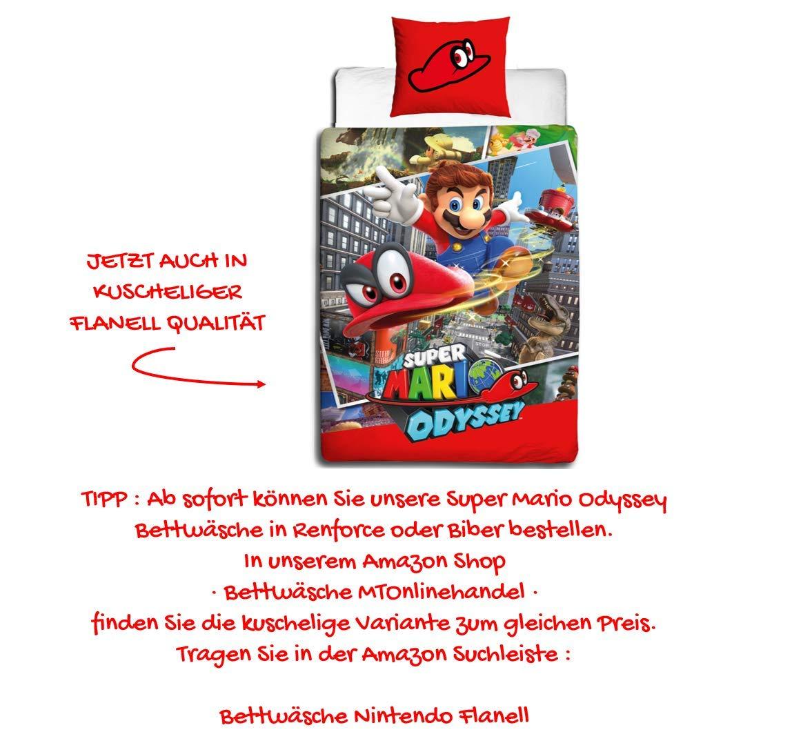 Nintendo Kinder Bettwäsche Super Mario Odyssey Wende Motiv