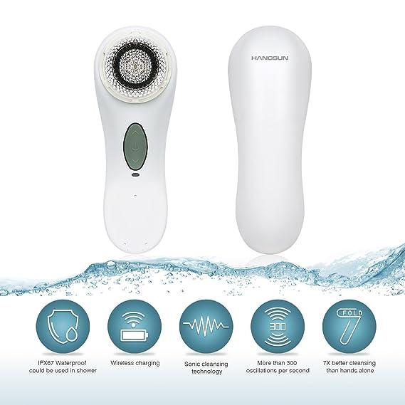 Hangsun Cepillo Facial SC100 Limpieza Facial Eléctricos Para Limpieza de Cutis Casera Con 2 Cabezas de Cepillo + WaterProof + Función de Masaje: Amazon.es: ...