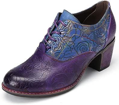gracosy damläder ankelstövlar sommar vår rund tå halvklack Mary Jane skor damrem pumps bohemiska Oxford skor vintage handgjord tryck skarvkrok slinga promenad bröllopsskor 3-8 Storbritannien