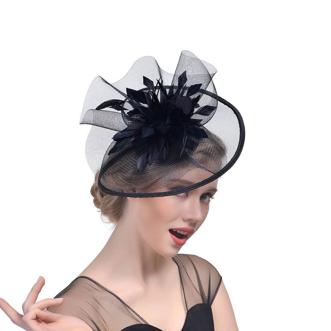 Sunshine girl Women Wedding Bridal Fascinator Veil Hair Ornament Headdress(Black)