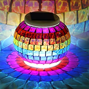 Color Changing Solar Powered Glass Ball Led Garden Lights, Rechargeable Solar Table Lights, Outdoor Waterproof Solar Night Lights Bright Lawn Lamps for Decorations, Ideal Gifts (Rainbow)