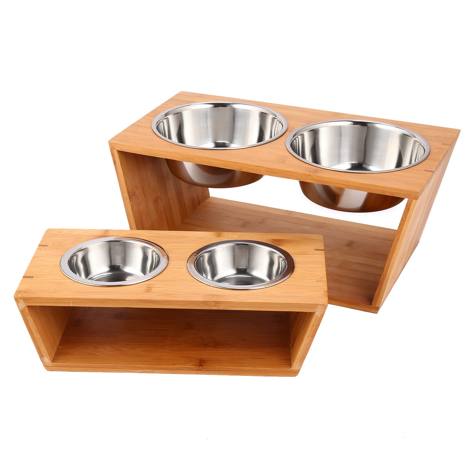 Athomestore Raised Pet bowls for Cats and Dogs,Double Bamboo Stand Food Water Feeding Station w/Two Stainless Steel Bowls (Large) (7'')