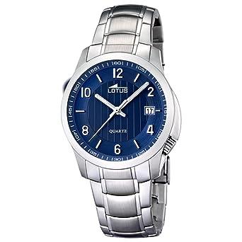 Lotus 0 - Reloj de Cuarzo para Hombre, con Correa de Acero Inoxidable, Color Plateado: Amazon.es: Relojes