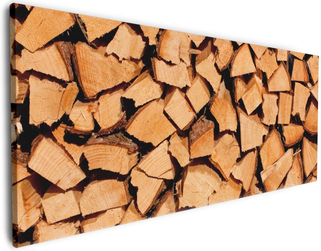 Wallario Leinwandbild Holzstapel gehackt - Holzscheite für Den Kamin - 50 x 125 in Premium-Qualität  Brillante lichtechte Farben, Hochauflösend, verzugsfrei