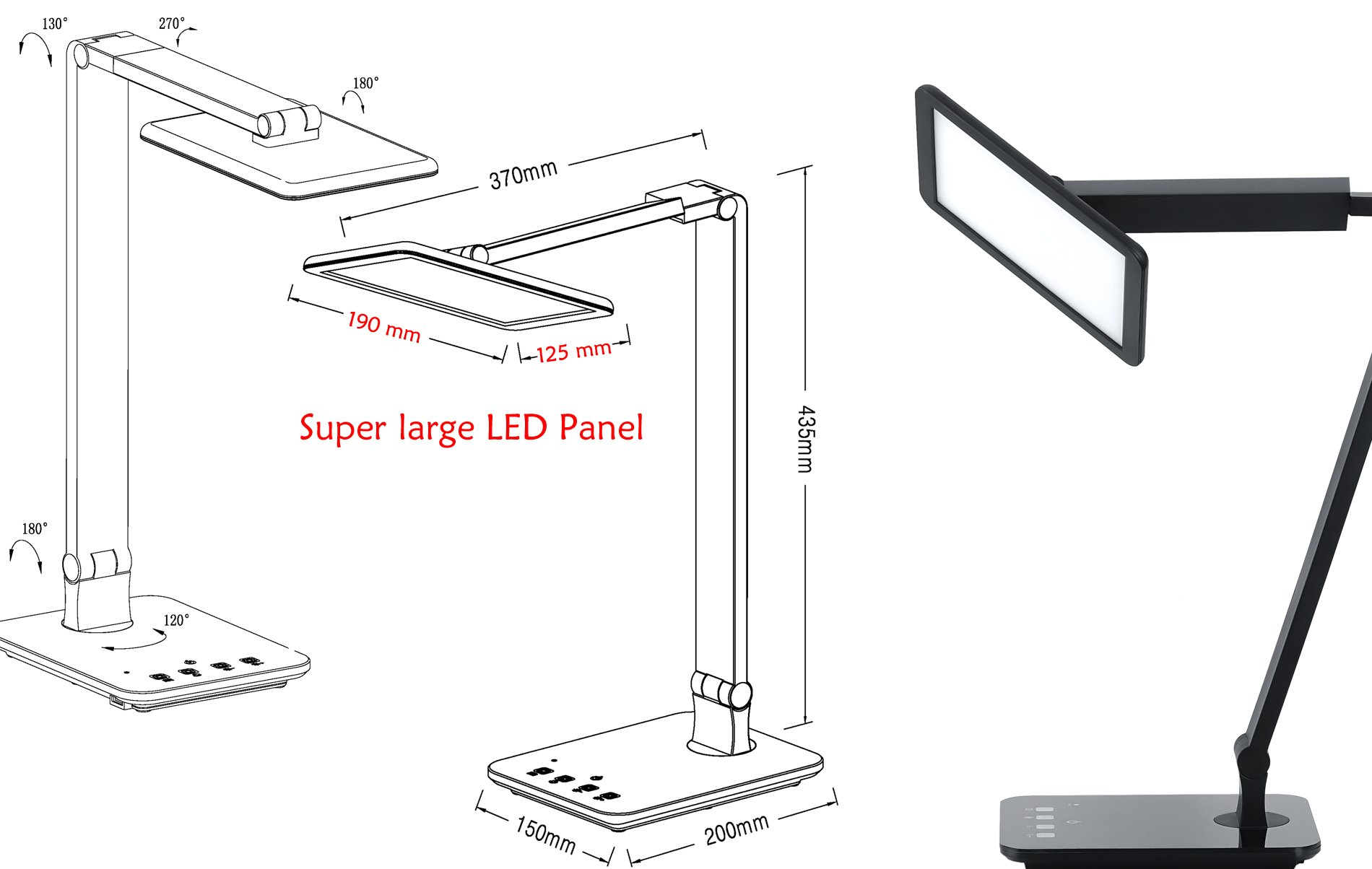 LED Desktop Lamp Saicoo Desk lamp with Large LED Panel, Seamless Dimming-Control of Brightness and Color Temperature, an USB Charging Port by saicoo (Image #5)