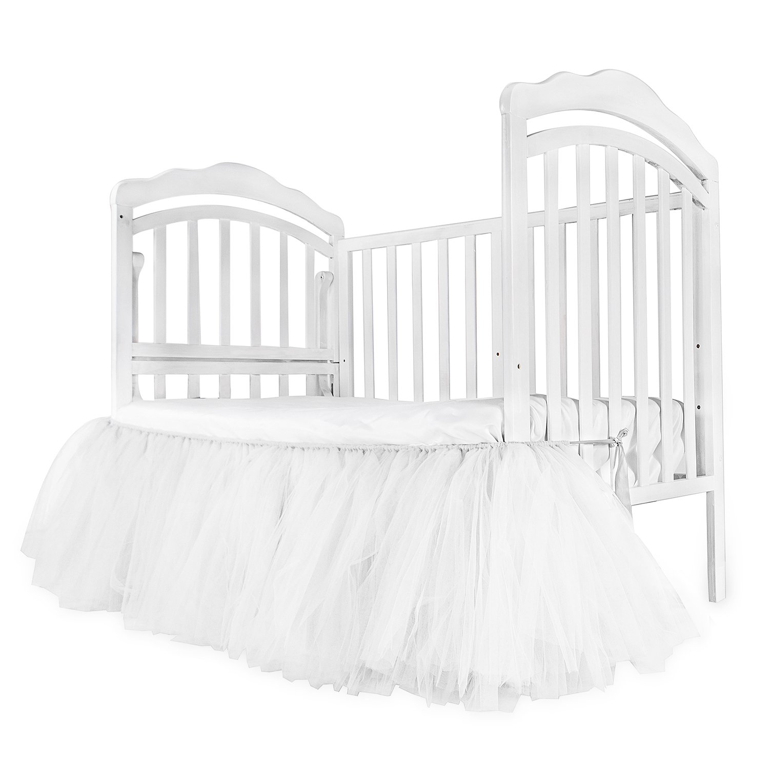 CO-AVE White Crib Skirt Baby Ruffle Baby Bed Skirt Portable Tulle Tutu Crib Skirt Handmade for Boys or Girls Birthday Party,Baby Shower &Baby Room Decoration,16'' Drop,One Side by CO-AVE