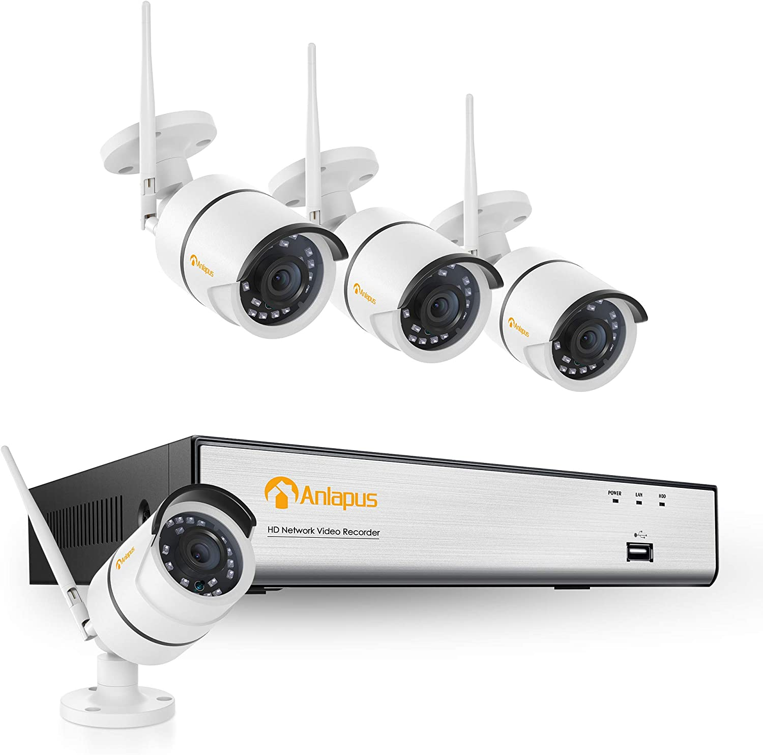 Anlapus H.265+ 1080p Security Camera System Wireless, 4pcs 2MP HD Outdoor Indoor Wireless Home Security IP Cameras, 8 Channel WiFi NVR Video Surveillance System with Night Vision(No Hard Drive)
