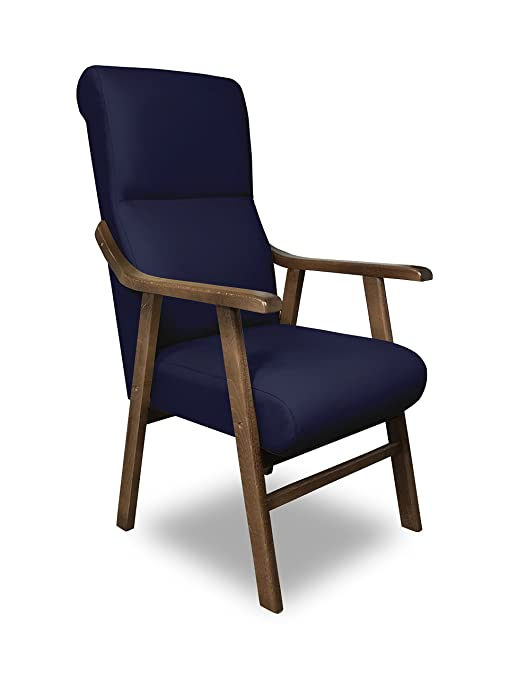 SERMAHOME Sillon butaca Boston, Estructura de Madera de Haya Color Nogal. Tapizado en Polipiel Color Azul. Sillon para Comedor | Silla geriatrica | ...