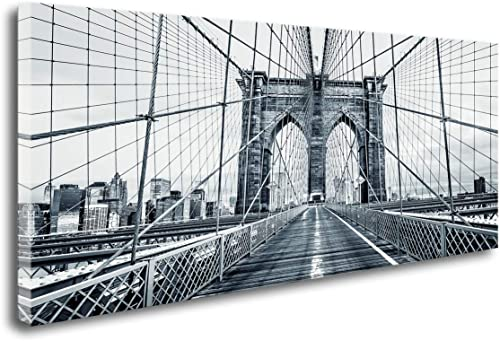 Q70775 Black and White New York City Brooklyn Bridge Wall Art Painting Wall Art Canvas Prints Painting Picture Stretched and Framed For Living Room Bedroom Decor Office Wall Decor Home Decoration