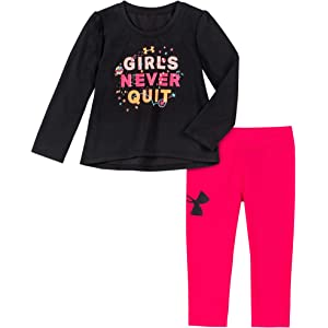 Girls Under Armour Outfit New 6-9 mo Shirt; Pants; Never Quit - Size 3-6
