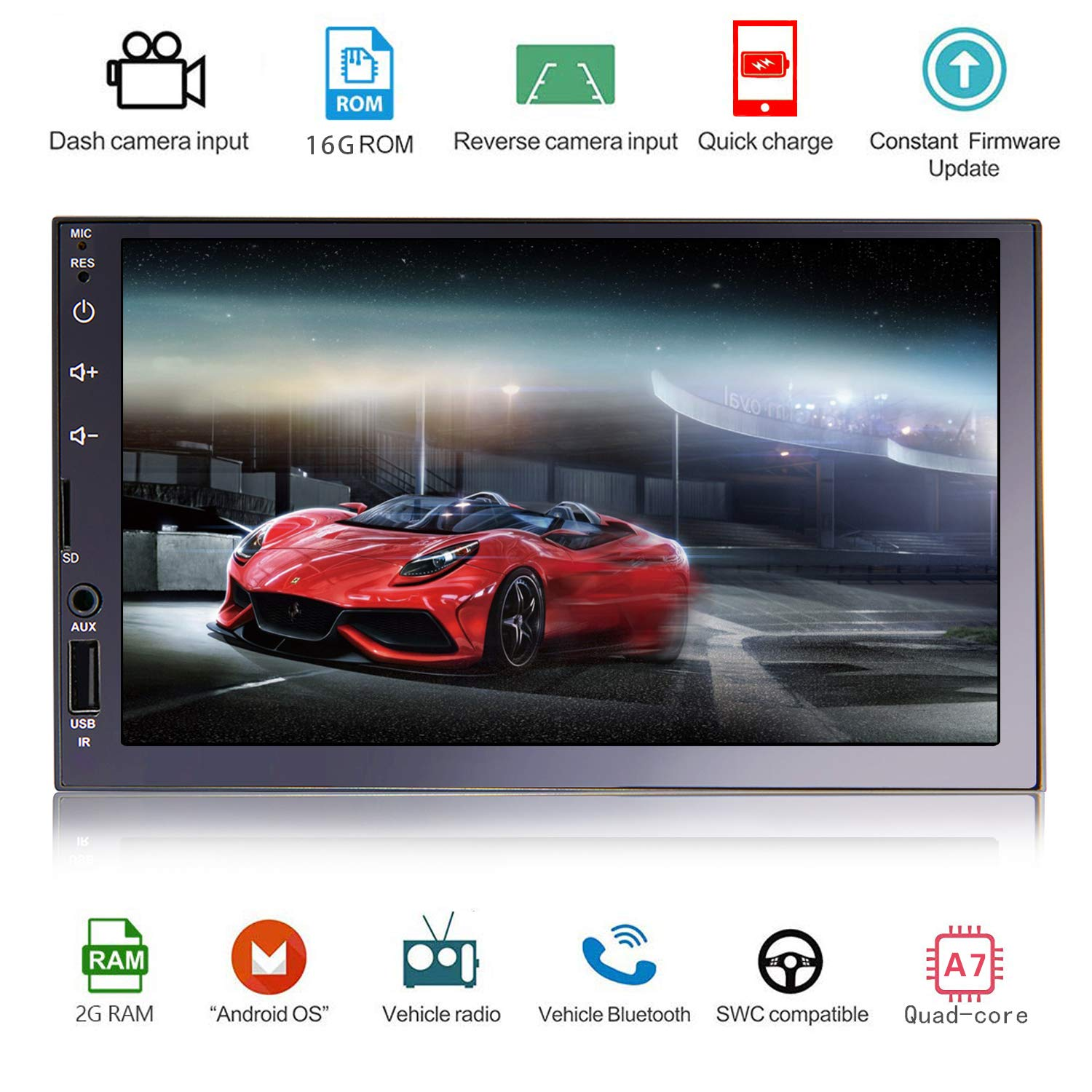 """Double Din Vehicle Navigation Touch Screen,Android 8.1 2GB RAM 16GB ROM 7/""""Car Radio AM//FM Radio Receiver//Bluetooth//GPS//WiFi Connection//Mirror Link"""