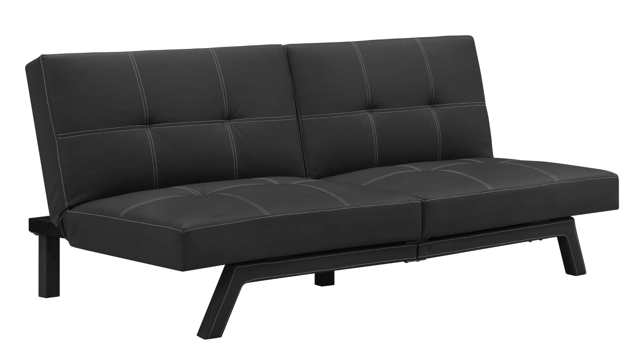 DHP Delaney Splitback Futon Compact Modern Design, Black Faux Leather