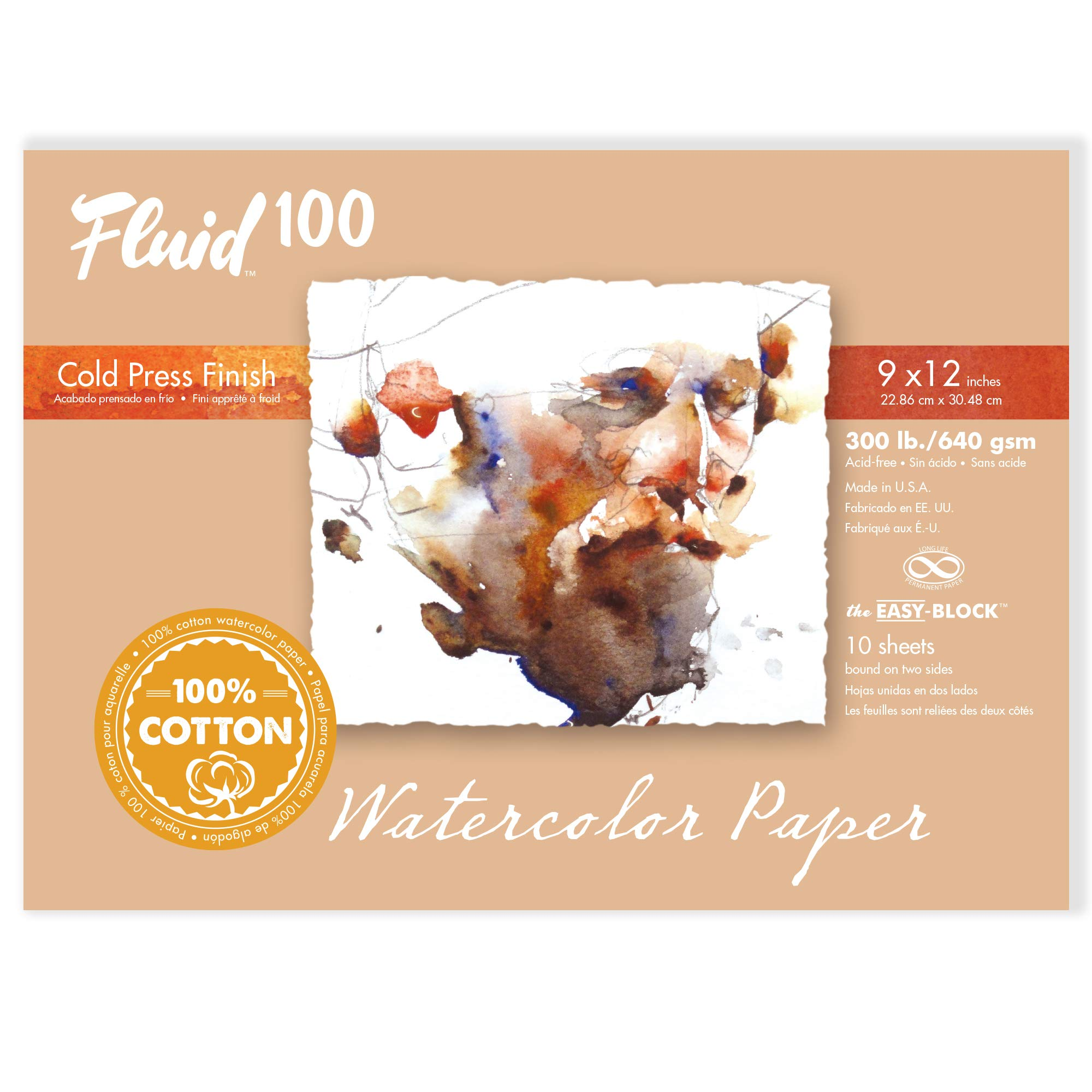 Speedball Art Products 821218 Fluid 100 Artist Watercolor Paper 300 lb Cold Press, 12 x 16 Block, 100% Cotton Natural White by Speedball