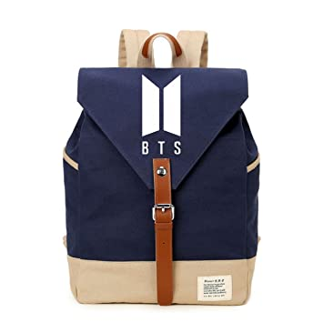 b13dd2a71a0c Amazon.com  JUSTGOGO Korean Casual Backpack Daypack Laptop Bag College Bag  School Bag (BTS)  JUSTGOGO