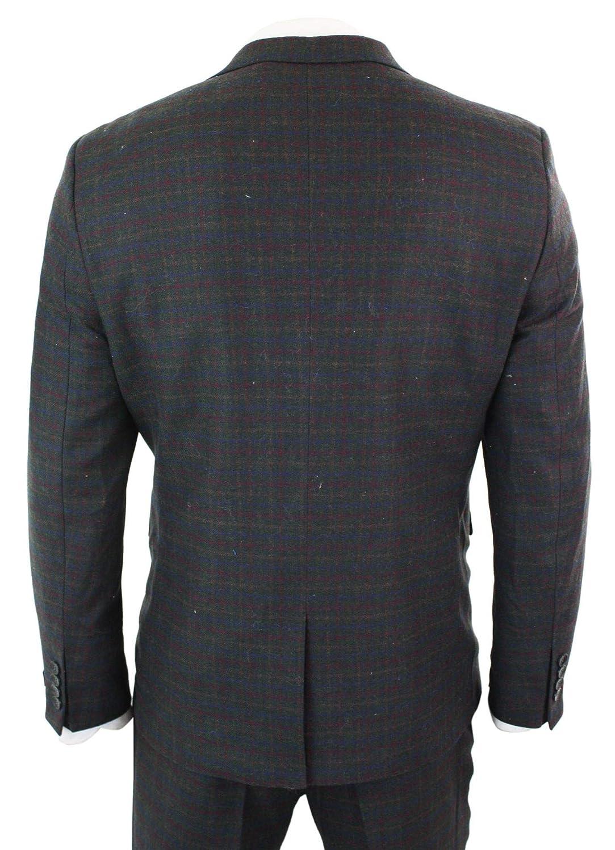 TruClothing STZ14 - Caballero 3 Piece Check Suit Doble Pecho ...