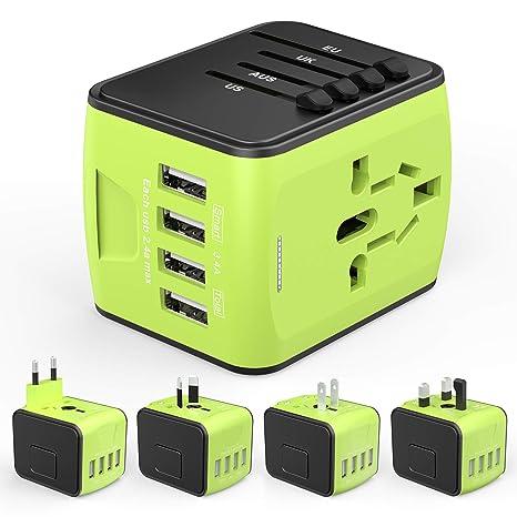 HUANUO Reiseadapter Reisestecker Steckdose Adapter Stromadapter mit 4 USB Aufladung Reise Stecker universal einsetzbar für 15