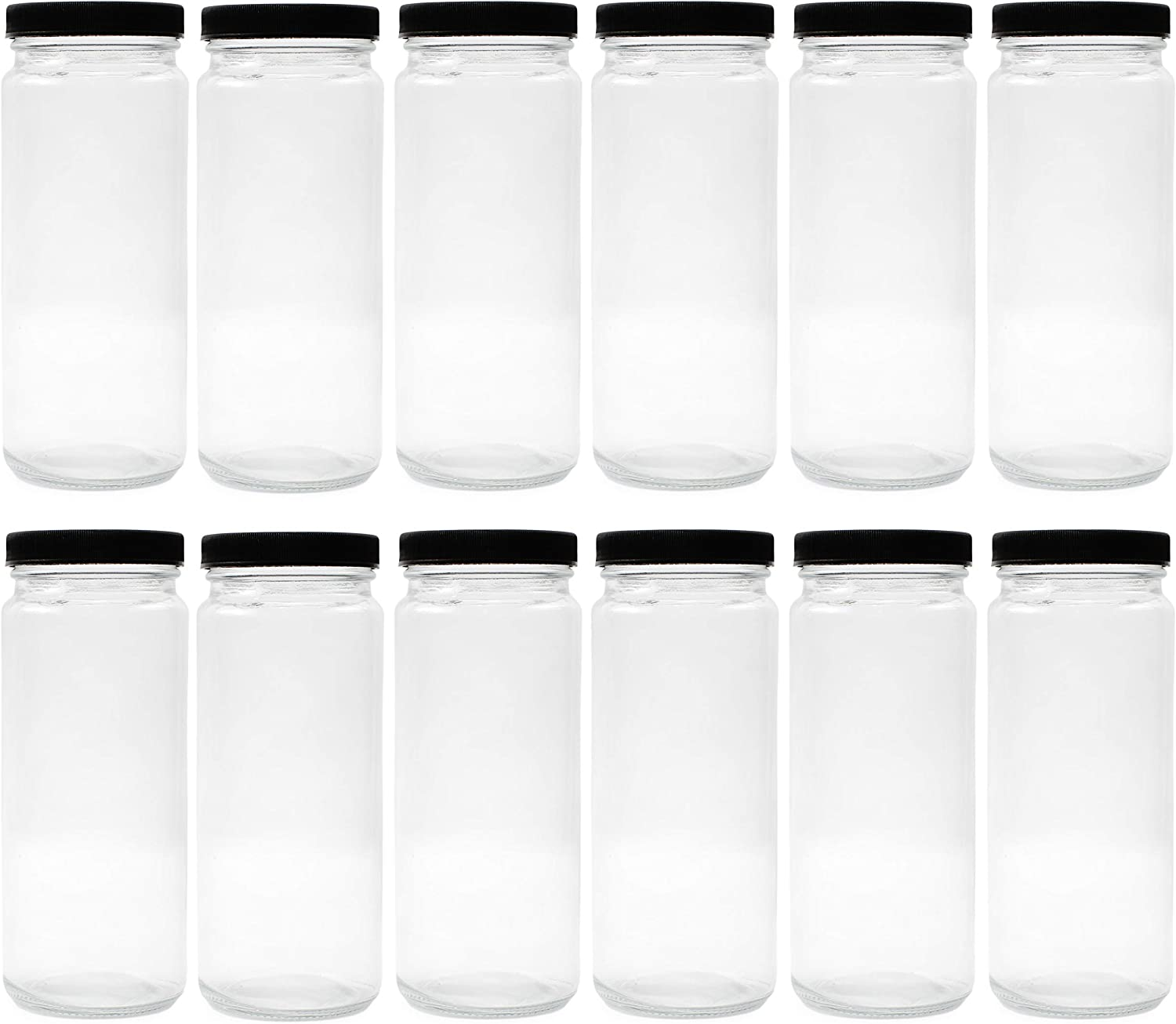 Cornucopia 16oz Glass Juice Jars (12-pack); Reusable Clear Glass Containers with Lids for Juicing, Smoothies, Kombucha, and Iced Tea