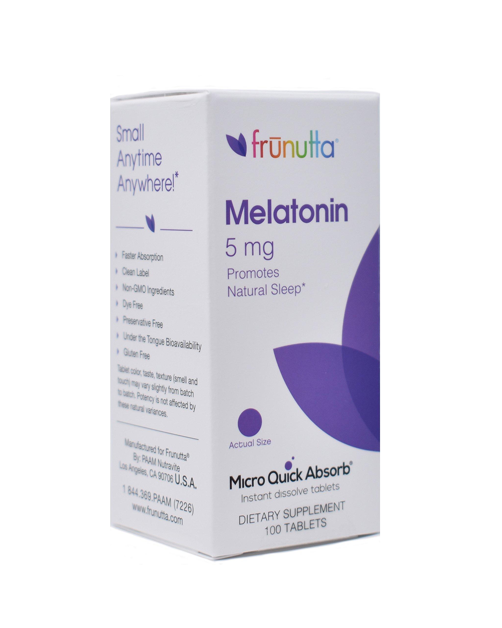 Frunutta Melatonin Under the Tongue Sublingual Tablets - Melatonin 5 mg Micro Quick Absorb Instant Dissolve Tablets Sleep Aid-3 Month Supply
