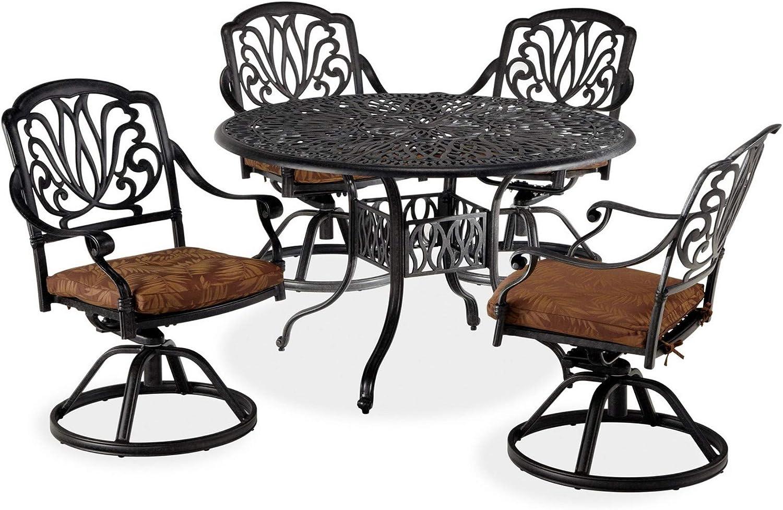 homestyles 6658-305 5 Piece Outdoor Dining Set, Grey