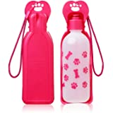 Anpetbest Dog Travel Water Bottle, Portable Foldable Water Dispenser Drink Bottle for Daily Walks, Hiking, Camping, Beach, BPA Free Plastic, Pink(11 fl oz)