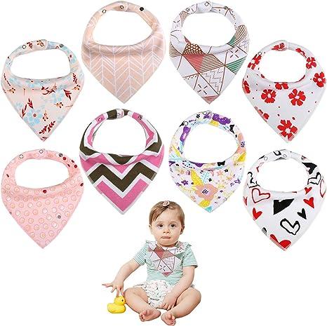 Baberos Bebe Bandana Babas para Bebes Ni/ño Ni/ña Nacido Toalla Bibs Baby Algodon 8PCS
