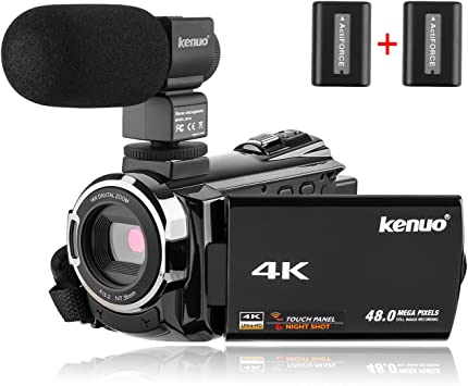 Amazon Com Kenuo 4k Video Camera Camcorder 48mp 60fps Portable Video Recorder Ultra Hd Wifi Digital Video Camera 3 0 Touch Screen Ir Night Vision Camcorder With Mic Electronics