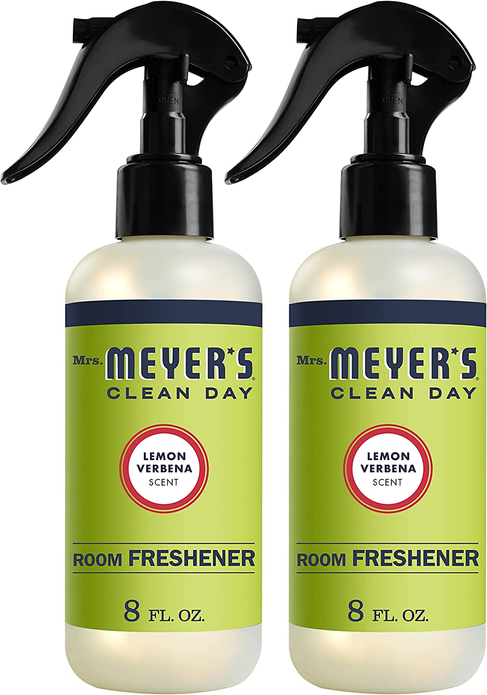Mrs. Meyer's Clean Day Room Freshener Spray, Lemon Verbena Scent, Instant & Refreshing Fragrance Made with Essential Oils, 8 fl oz Spray Bottle (Pack of 2)