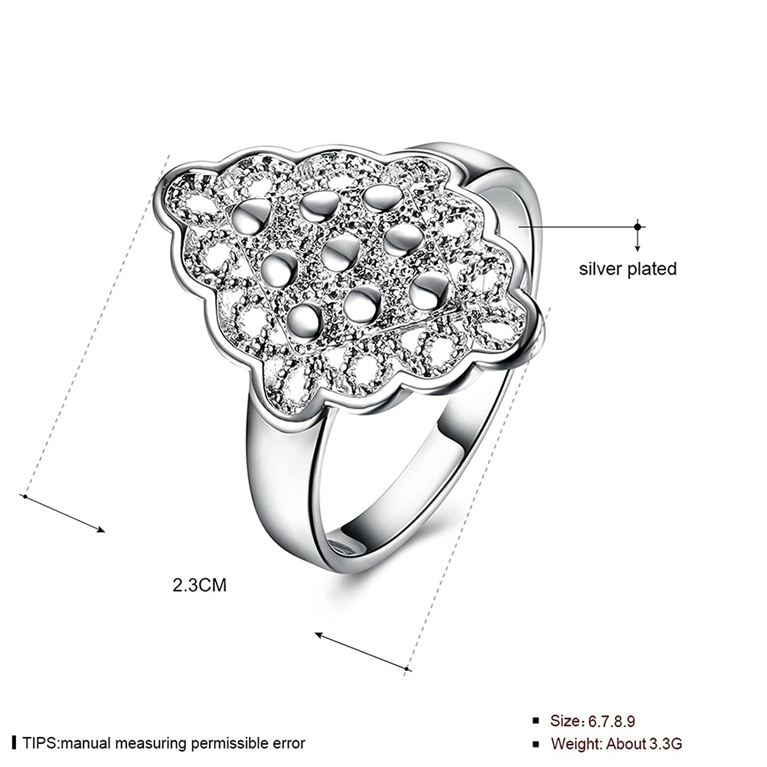 amazon daesar jewelry plated silver rings for women flower Getting a Ring Size amazon daesar jewelry plated silver rings for women flower hollow ring promise ring band jewelry
