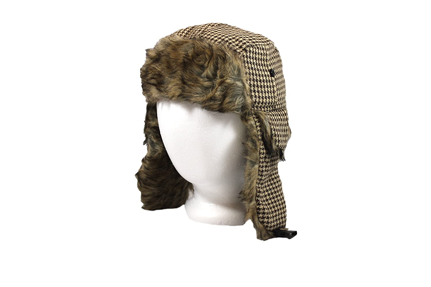 fcb3ed0176b Amazon.com  Kids Brown and Tan Faux Fur Houndstooth Trapper Ha  Clothing