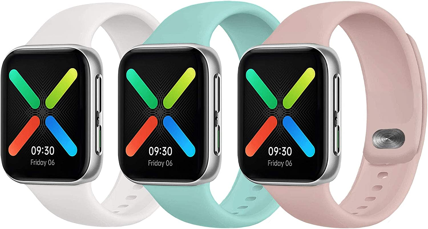 UPOLS Compatible with Apple Watch Band 38mm 42mm 40mm 44mm Sport Band, Silicone Sport Strap Replacement Bands Compatible for Iwatch Series 6/5/4/3/2/1/SE S/M M/L