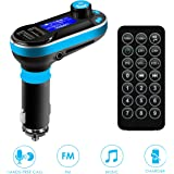 Car Bluetooth FM Transmitter, SOONHUA Wireless In-Car Bluetooth Receiver Stereo Radio Adapter 5in1 Car Kit Music Player Hand-Free Calling Dual USB Support SD/TF Card for iPhone and Samsung (Blue)