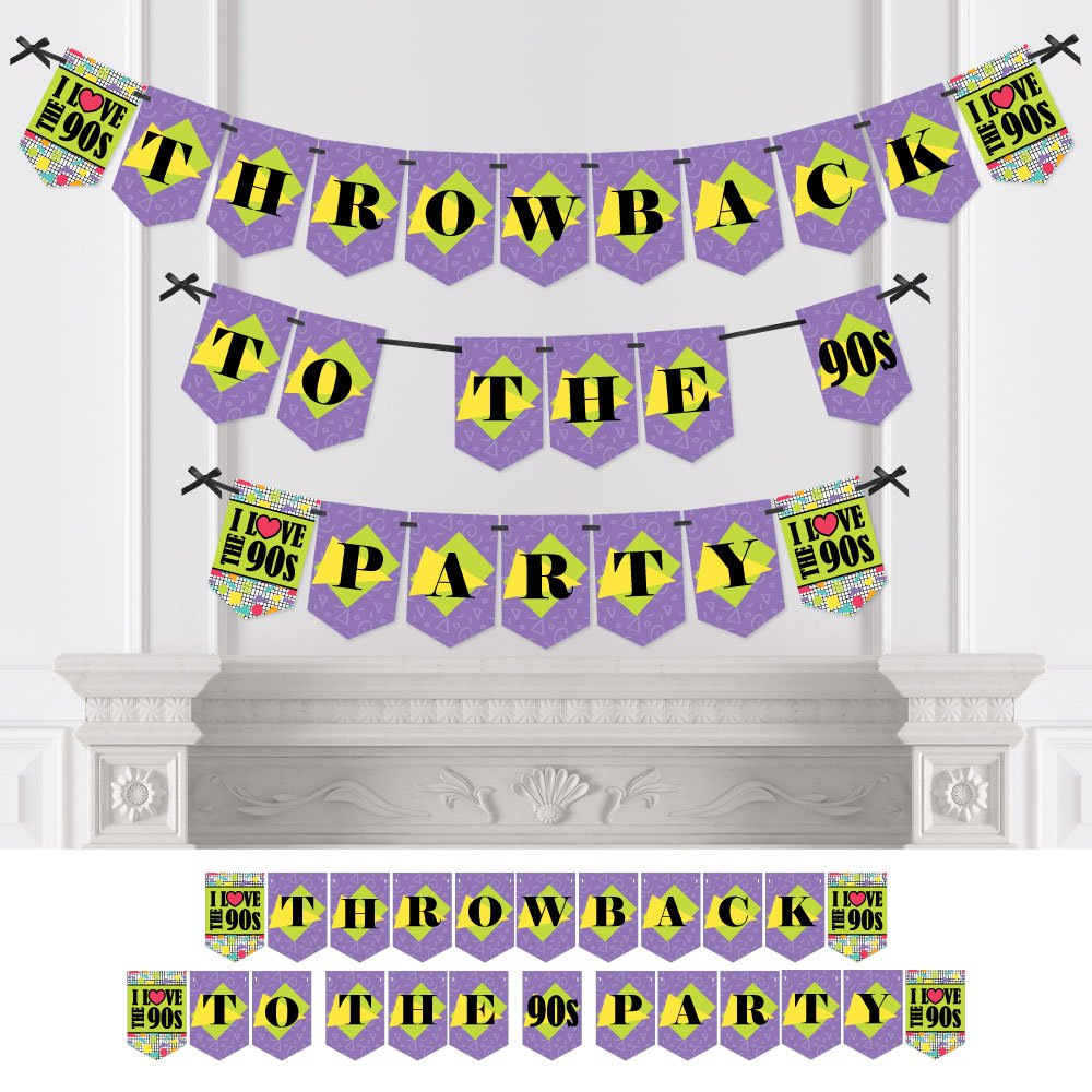 90's Throwback - 1990s Party Bunting Banner - Party Decorations - Throwback To The 90s Party