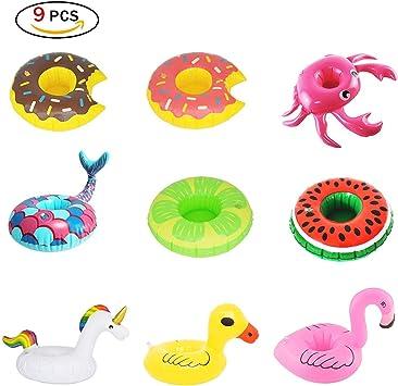 Rocita Portavasos Hinchable Flotadores de Bebidas para Piscina y diversión acuática (9 Paquetes): Amazon.es: Juguetes y juegos