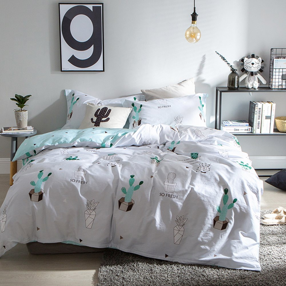 Fresh Style Bedding Sets Cactus - MeMoreCool 100% Cotton Reactive Printing All Seasons Duvet Cover and Fitted Sheet and Pillowcase Queen
