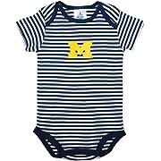 University of Michigan Wolverines Block M Striped Newborn Baby Bodysuit Navy 0-3 Months