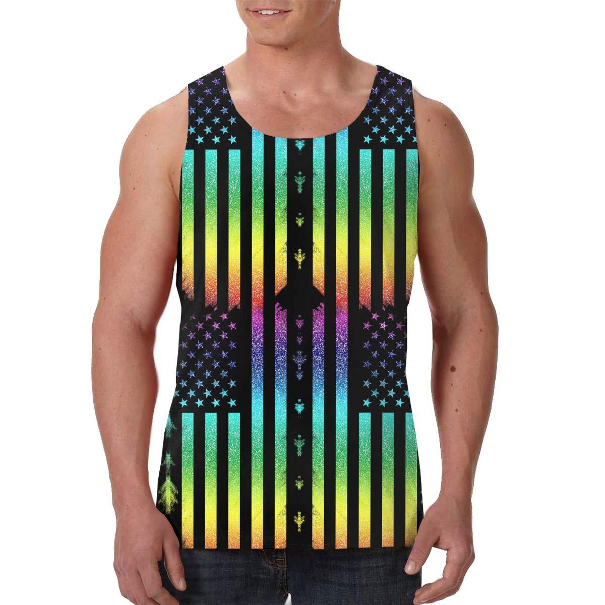 Antonia Bellamy Colourful American Flag Gay Pride Mens All-Over Print Tank Top Slim Fit Muscle Shirt