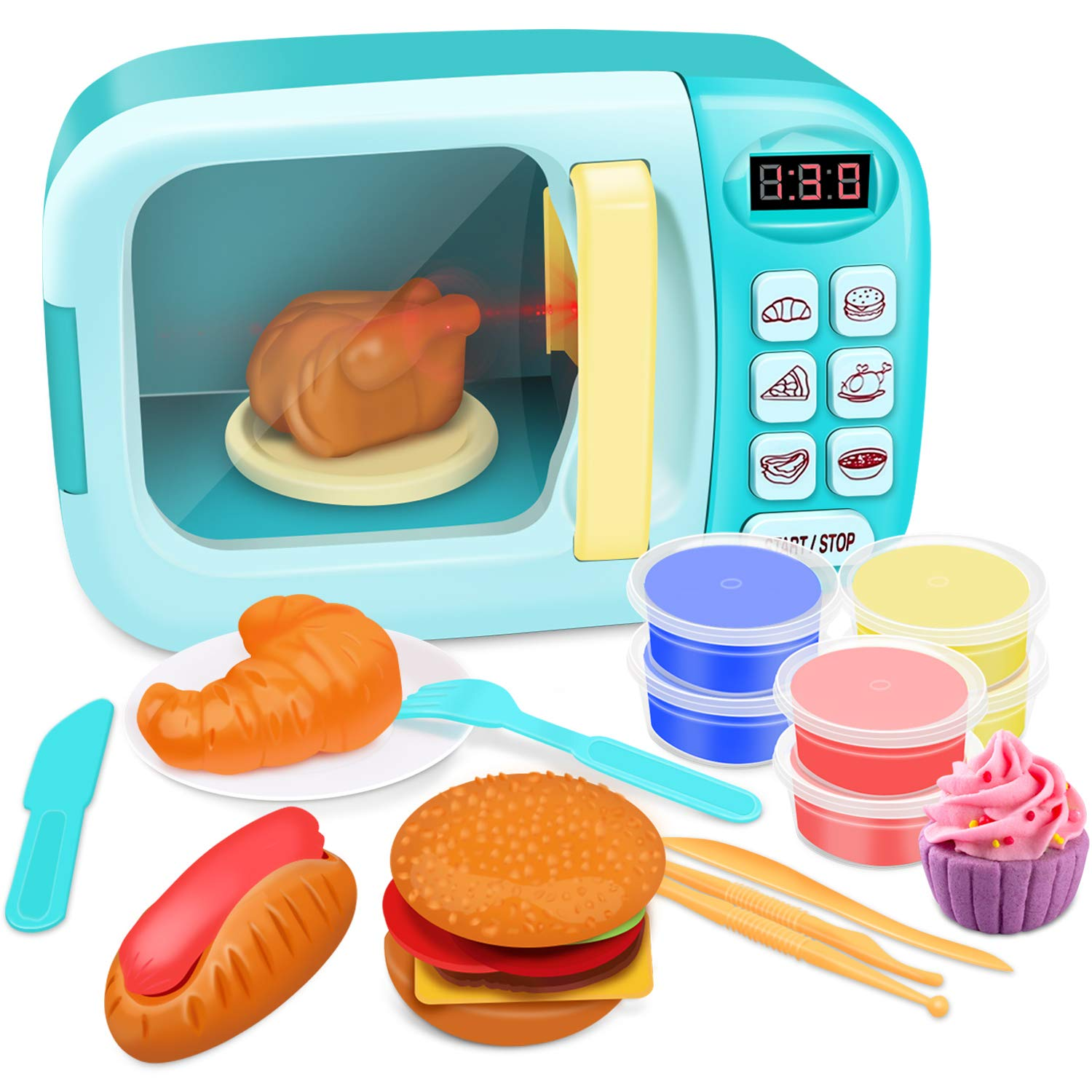 GrowthPic Toy Kitchen Microwave Play Set, Kids Electronic Pretend Play Oven Toy Set with Play Food and Play Dough for Toddler Boys Girls and 2 3 4 5 6 Years Old by GrowthPic