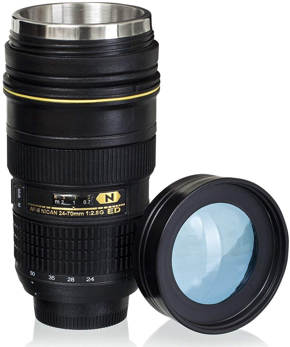 Wrcibor Lens Cup with Stainless Steel Insulated Tumbler, 1:1 Camera 24-70mm F2.8G Lens Imitation, 16oz (TRANSPARENT COVER) …