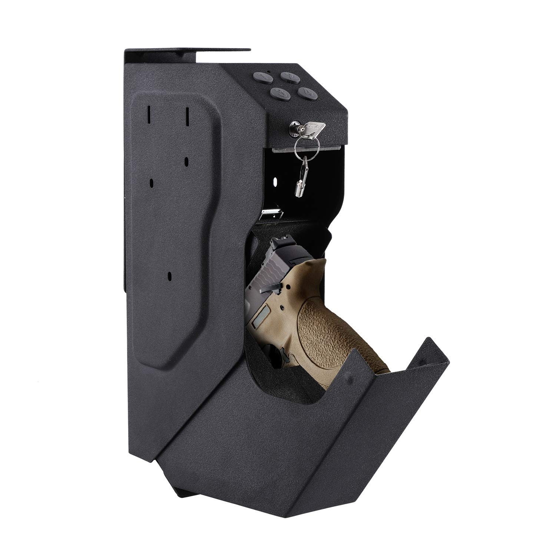 Superday Pistol Case Gun Security Box Gun Vault Handgun Safe Shelf-Mountable Gun Safe with Digital Key & 2 Emergency Key by Superday