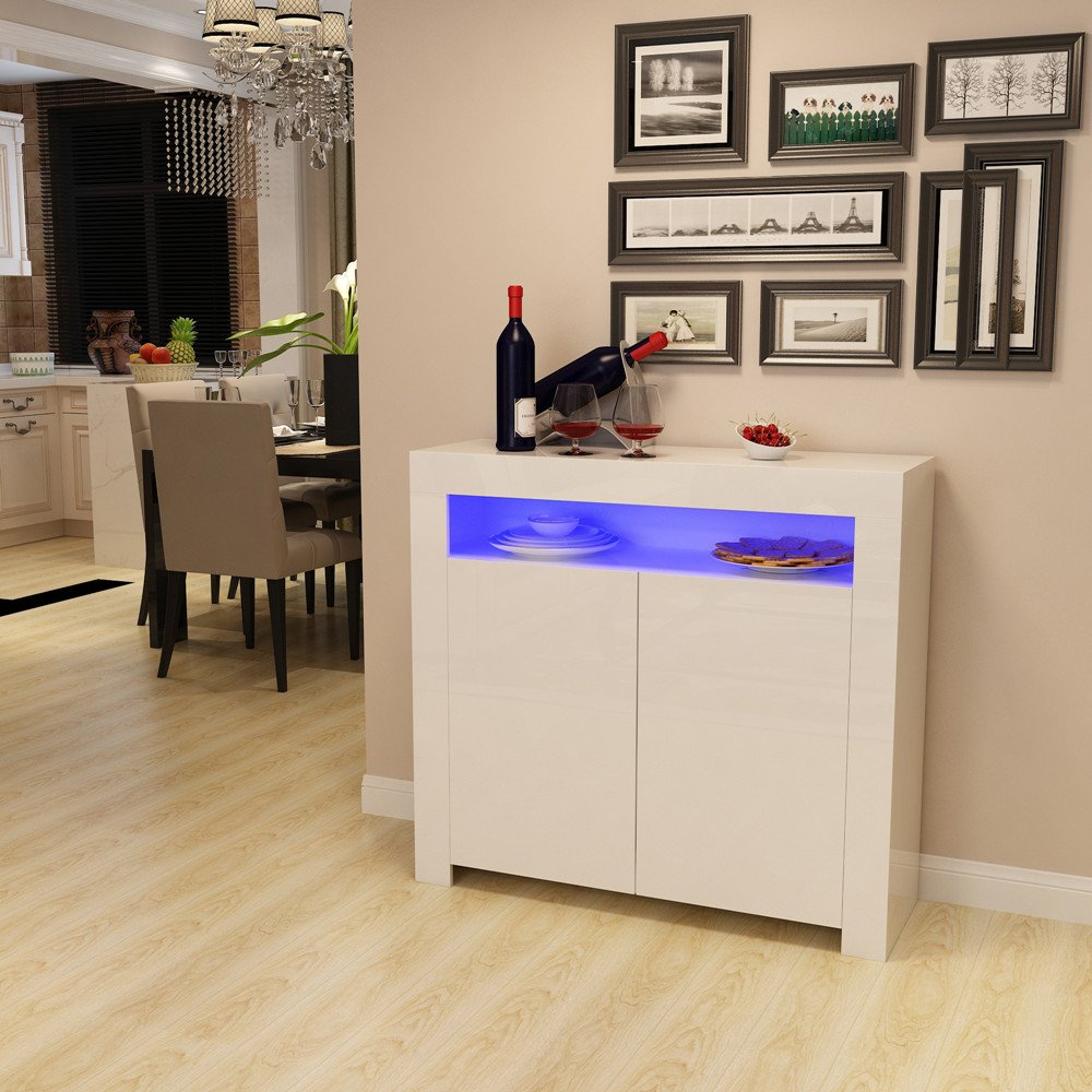 Panana Sideboard Storage Cabinet RGB Multicolor LED Lighting (White) Bochen