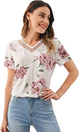 Milumia Women's Mesh Inserted V Neck Floral Print Blouse Short Sleeve Work Office Top